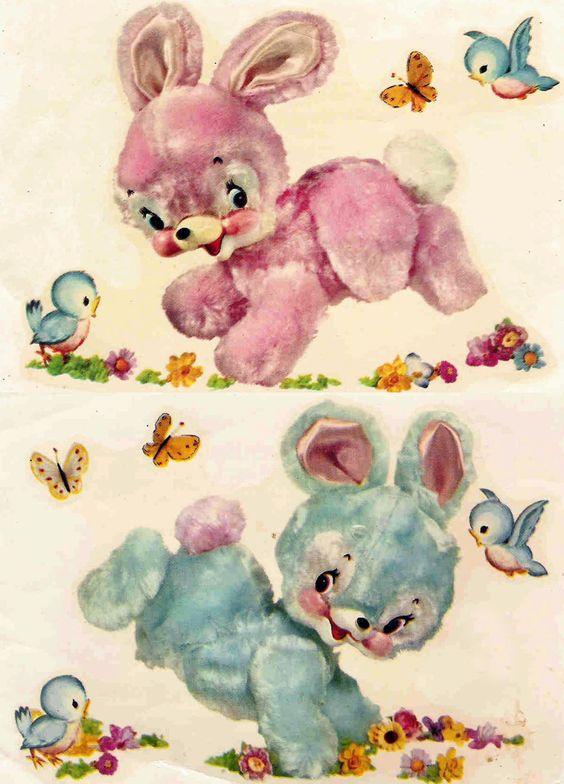 Cute bunny vintage decal by Meyercord
