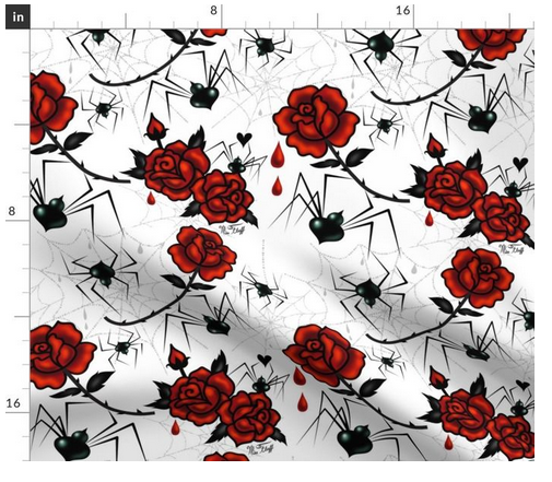Halloween and Goth Fabric featuring Black widow Spiders with Red Roses A mysterious black widow delicately holds a red rose with scarlet   drops of rose blood. Original Art by Miss Fluff. goth gothic halloween spiders black widow horror art dark art halloween art goth fabric, halloween fabric.