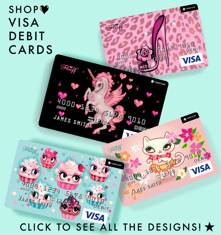 cute design debit cards by miss fluff