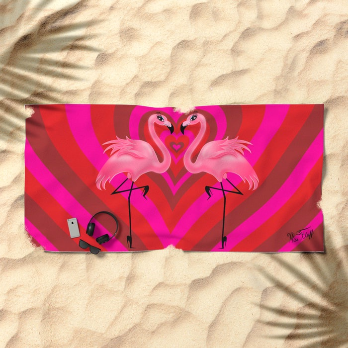 Retro Flamingos mod beach towel