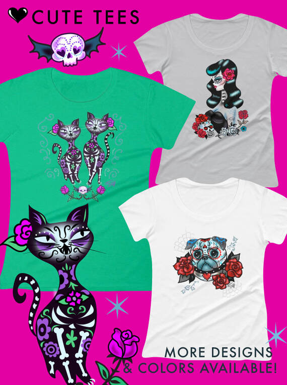 Day of the dead, dia de los muertos tee shirts by Miss Fluff.