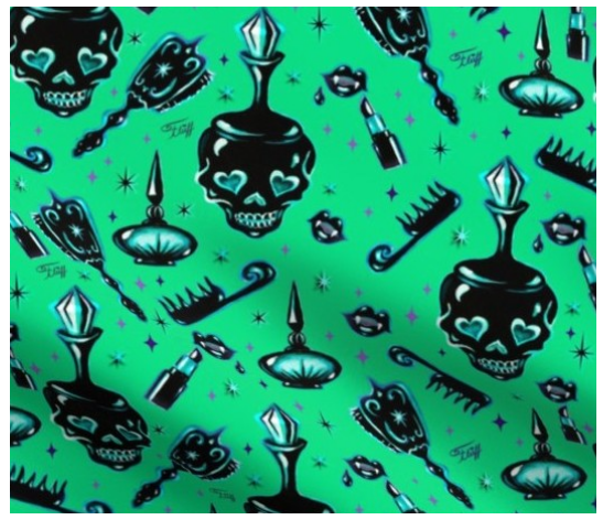 Halloween Fabric by the Yard -Gothic Vanity Pattern Green by Miss Fluff