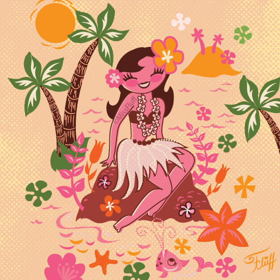Cute vintage 1950s inspired hula girl art by Miss Fluff