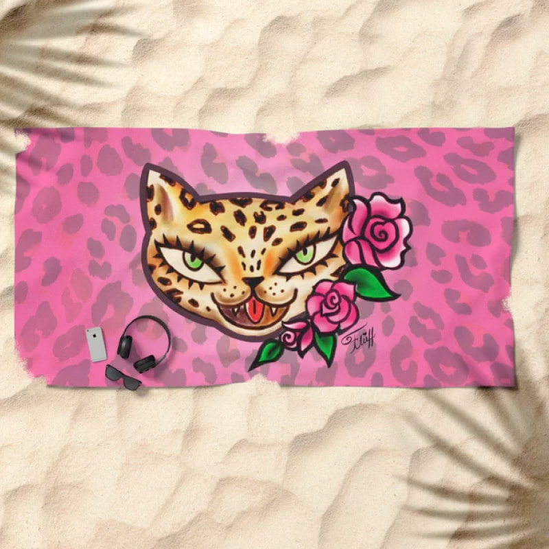 Vintage tattoo flash leopard with roses by Miss Fluff. On fun retro accessories and gifts.