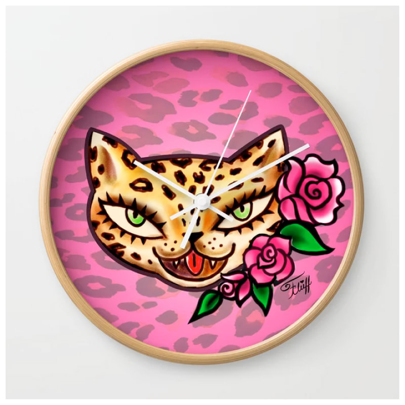 Vintage tattoo flash leopard with roses on pink leopard by Miss Fluff. On fun retro accessories and gifts.