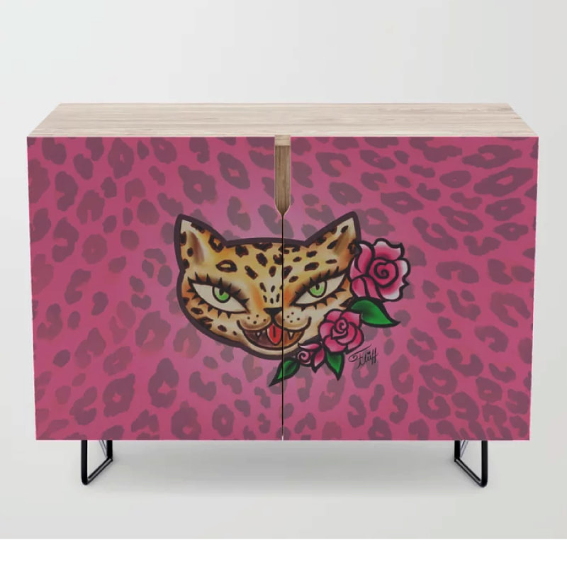 Vintage tattoo flash leopard with roses by Miss Fluff. On fun retro accessories and decor furniture.