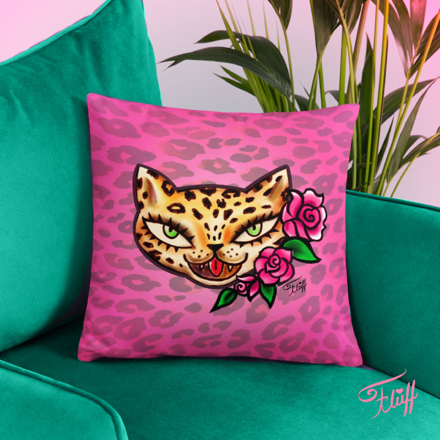 cute pillow pillow featuring leopard tattoo flash on pink leopard print