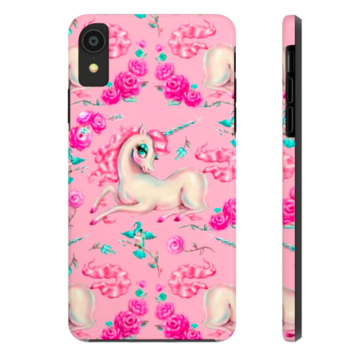 Vintage fairytale pink unicorn iphone case by Miss Fluff.