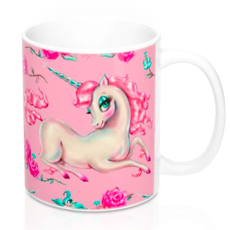 Vintage fairytale pink unicorn cute mug by Miss Fluff.