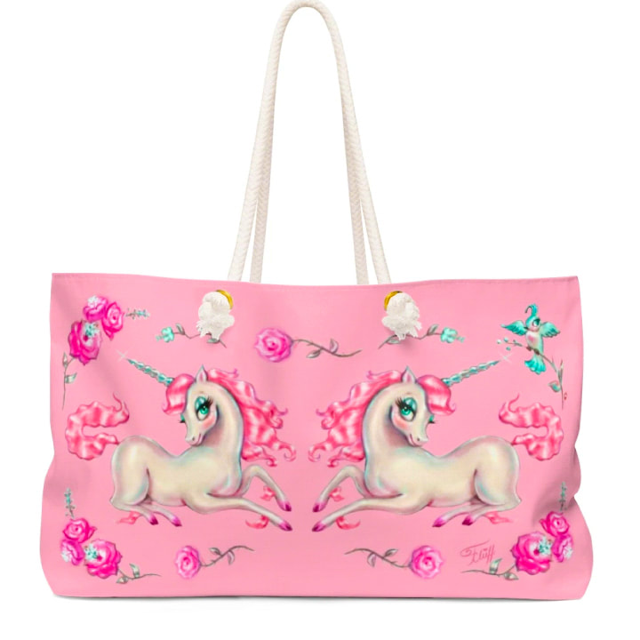 Vintage fairytale pink unicorn tote bag by Miss Fluff.