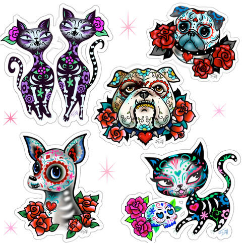Day of the Dead, Dia de los muertos vinyl stickers by Miss Fluff.