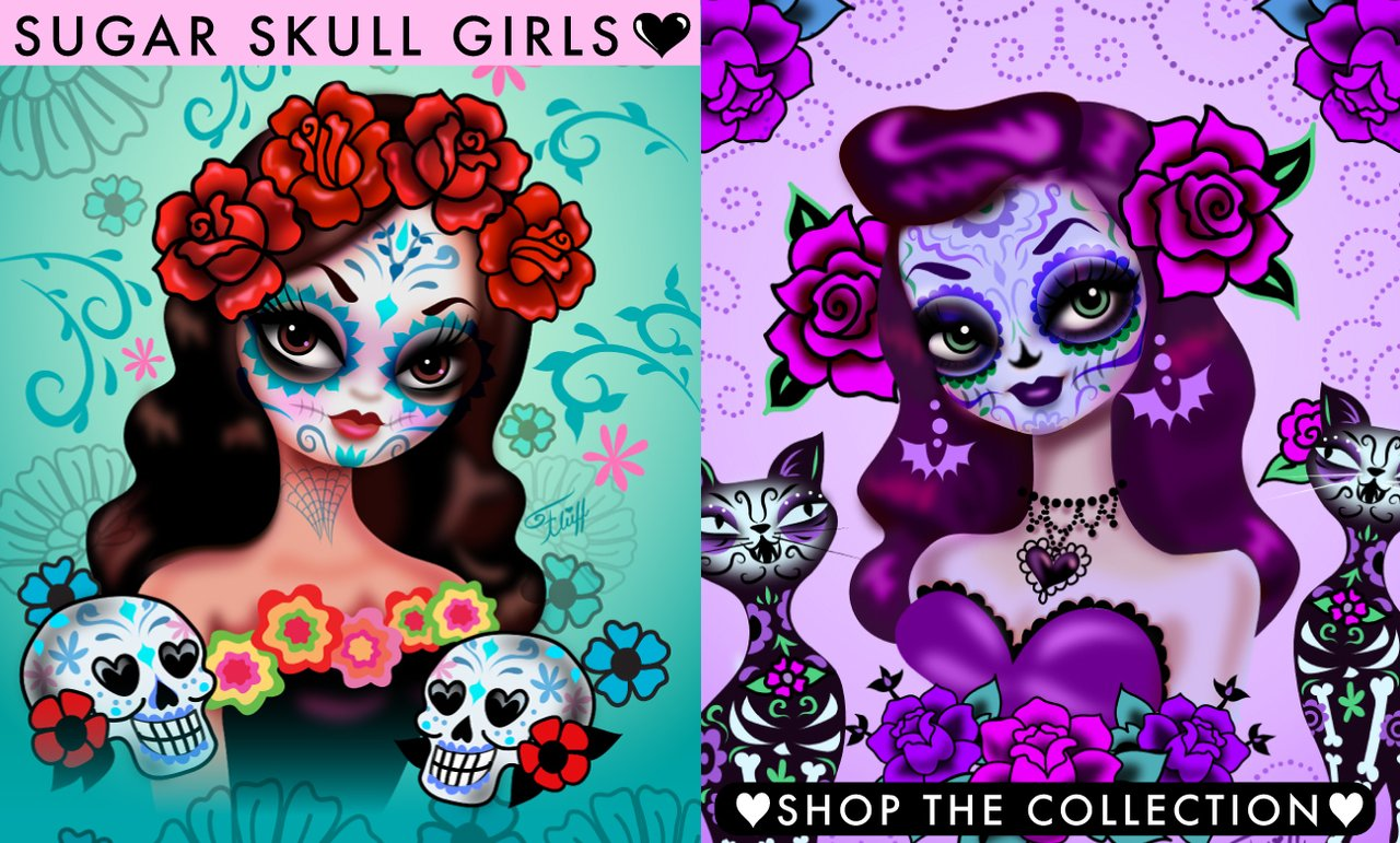 Sugar Skull art prints by Miss Fluff