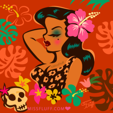 Retro tiki hula girl art by Miss Fluff.