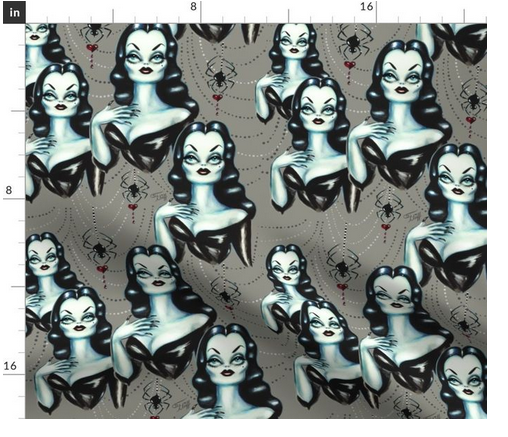 Halloween and goth fabric by the yard  of a vampire vixen inspired by Vampira. Original art by Miss Fluff.