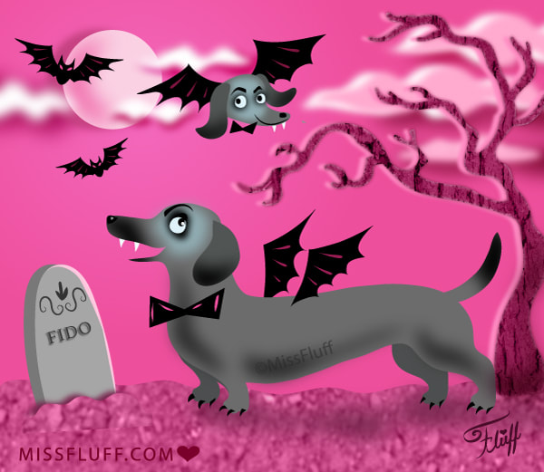 cute halloween vampire weiner dog !